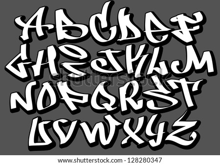 graffiti font alphabet letters hip hop stock vector royalty free