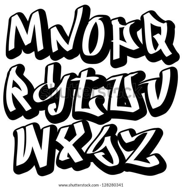 Graffiti Font Alphabet Letters Hip Hop Stock Vector (Royalty