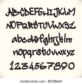 graffiti font alphabet, urban art of abc