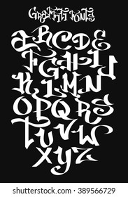 Graffiti font alphabet. Vector illustration.