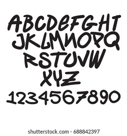 Graffiti font, alphabet,Digits
