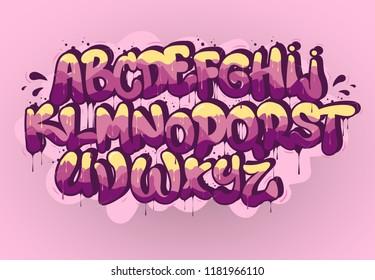 Graffiti font on pink background