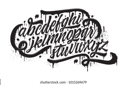 Graffiti font. Grunge spray paint effect alphabet isolated on white. Hand drawn font with realistic grunge graffiti spray paint effect for a logo, cards, invitations, posters, banners. Spray letters.