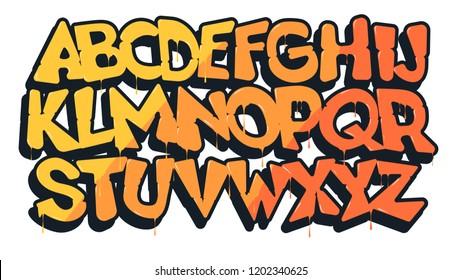 Graffiti font, vector illustration.