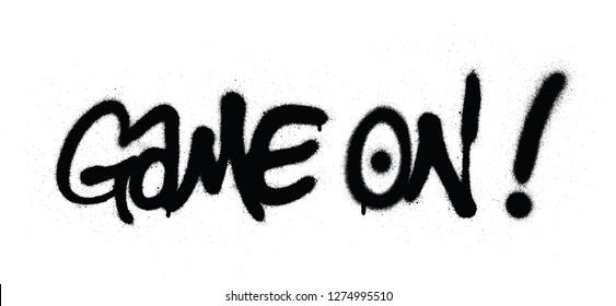 graffiti game on text sprayed in black over white