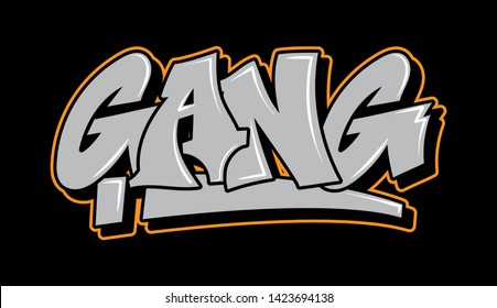 Graffiti gray inscription gang decorative lettering street art free wild style on the wall city vandal urban illegal action by using aerosol spray paint. Underground hip hop type vector illustration.