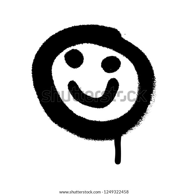 Graffiti Grunge Emoji Black Ond White Stok Vektor Telifsiz