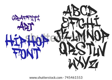 Alphabet Tag graffiti hip hop black letters tag stock vector (royalty free