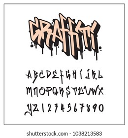 Graffiti Hip Hop font and alphabet, vector illustration