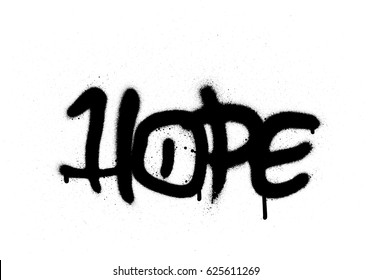 graffiti hope word sprayed with leak in black on white