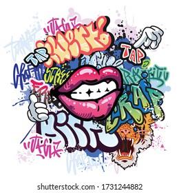 Graffiti illustration with street graffiti letters, tags,words, street art, style,crap,kick,tap,lips,tiger, spray paint, emoji, fresh and colorful, cartoon hand,