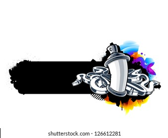 Graffiti image of can with arrows. Horizontal banner. Vector illustration.
