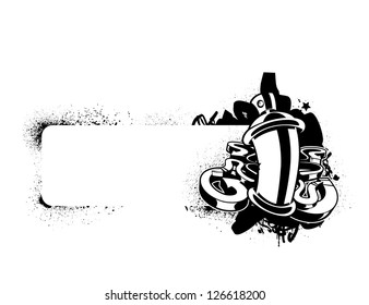 Graffiti image of can with arrows. Vertical banner. Monochrome sketch. Vector illustration.