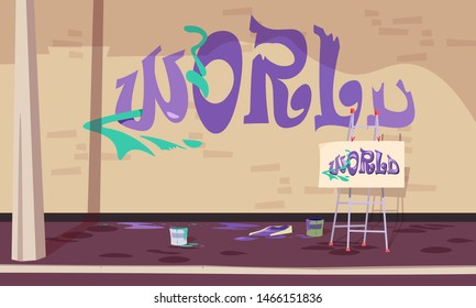 Graffiti inscription on wall vector illustration. Unfinished word world written on brick wall. Paint cans, easel with drawing sketch standing on pavement. Urban underground subculture art
