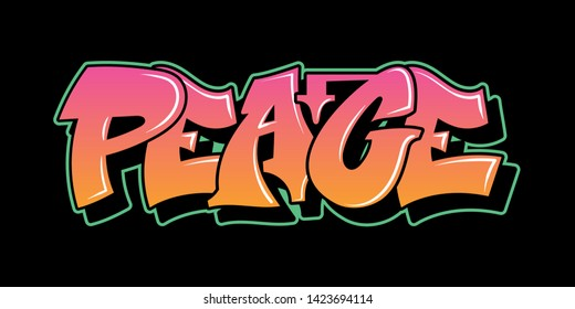 Graffiti inscription PEACE decorative lettering street art free wild style on the wall vandal city urban illegal action by using aerosol spray paint. Underground hip-hop vector old school illustration