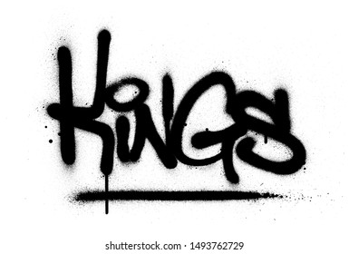 graffiti kings word sprayed in black over white