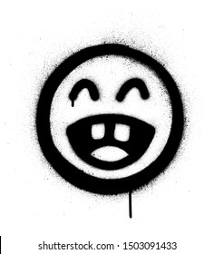graffiti laughing out loud icon sprayed in black over white