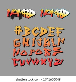 Graffiti letters inspiration from alphabet decorative lettering vandal street art free wild style on the wall city urban by using aerosol spray paint. Underground hip hop type vector.