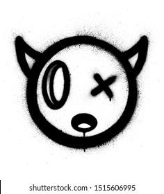 graffiti little devil icon sprayed in black over white