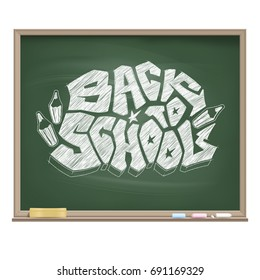 Graffiti logo Back to School drawn by a white chalk on the educational green board. Original vector symbol of readiness for a new school season. Banner dedicated for the 1 September. Isolated object.