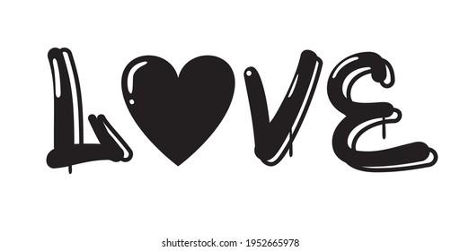 graffiti love slogan print with heart
