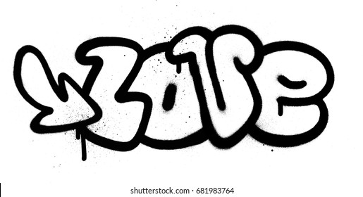 graffiti love word in black over white