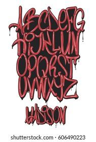 Graffiti marker alphabet set, vector illustration.