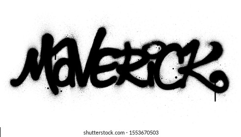 graffiti maverick word sprayed in black over white
