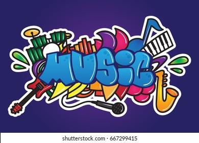 Graffiti. Music word with guitar, piano, drums, microphone, equalizer and saxophone for poster, print, t-shirt. Street art music