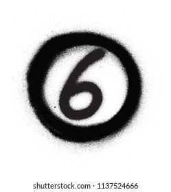 graffiti number six 6 in circle sprayed in black over white