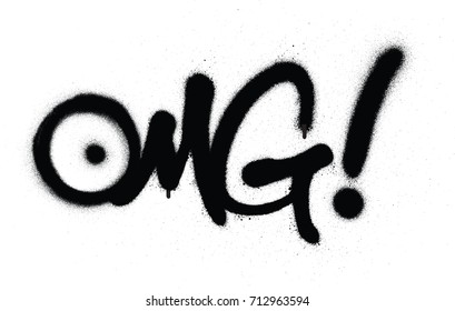 graffiti OMG chat abbreviation in black over white
