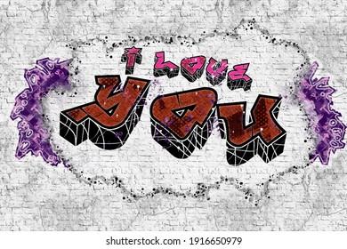 Graffiti on a brick wall - I love you. Vector illustration