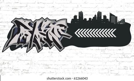 graffiti on grunge city backround (urban art).