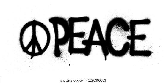 graffiti peace word and symbol sprayed in black