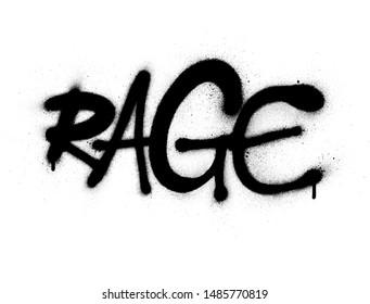 graffiti rage word font sprayed in black over white