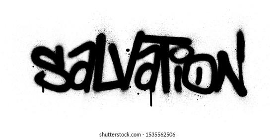 graffiti salvation word sprayed in black over white