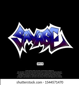 Graffiti savage word vector illustration can be used for stickers, Printing on T Shirt or Clothes