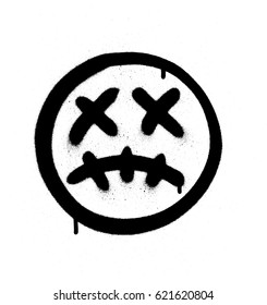 Graffiti scary sick emoji sprayed in black on white