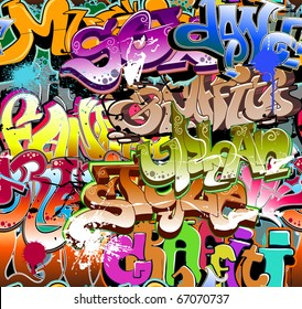 Graffiti seamless background. Funky hip hop pattern of grafitti urban art font and street design abstract letters and texture