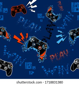 Graffiti seamless pattern with dark blue and orange gamepad sign, fire track, digital style text, lightning, squares. Gamer repeated print for boy clothes, textile, wrapping paper. Pixels words Play