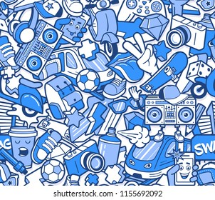 Graffiti seamless pattern with urban lifestyle line icons. Crazy doodle abstract vector background. Trendy linear style collage with bizarre street art elements.