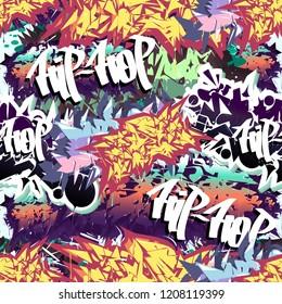 Аbstract graffiti seamless pattern, vector.