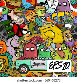 Graffiti seamless texture with funny doodle illustration. comic background. Pattern sticker bombing.