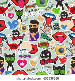 Graffiti seamless texture with social media signs and other shiny icons. Vector