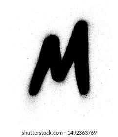 graffiti small fat M fontsprayed in black over white