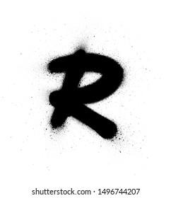 graffiti small fat R font sprayed in black over white
