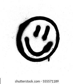 graffiti smiling face emoticon in black on white