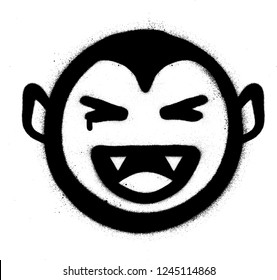 graffiti smiling vampire icon in black over white