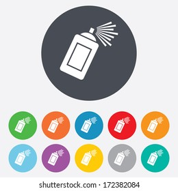 Graffiti spray can sign icon. Aerosol paint symbol. Round colourful 11 buttons. Vector