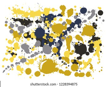 Graffiti spray stains grunge background vector. Graphic ink splatter, spray blots, dirty spot elements, wall graffiti. Watercolor paint splashes pattern, smear fluid stains splatter backdrop.